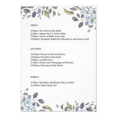 Shop Summer Blue Floral Bachelorette Weekend Itinerary Invitation created by PartyCardy. Beach Bachelorette, Bachelorette Party Invitations, Zazzle Invitations, Professional Logo Design, Weekend Getaways, Blue Flowers, Winter Blue, Templates Free, Resume Templates