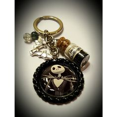 The nightmare before Christmas inspired jack Skellington keychain ❤ liked on Polyvore featuring accessories, ring key chain, silver key ring, beaded key chains, keychain key ring and silver key chains