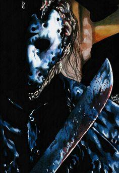 Jason Voorhees-Friday The Horror Icons, Horror Art, Horror Movies, Jason X, Superhero Villains, Jason Voorhees, Friday The 13th, Freddy Krueger, Michael Myers