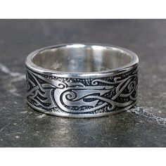 Viking Wolf Ring, Sterling Silver Viking Ring, Celtic Man's Ring,... ❤ liked on Polyvore featuring jewelry, rings, wolf wedding rings, wolf jewelry, wedding rings, celtic ring and celtic wedding rings