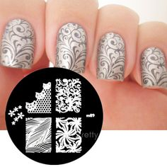 Nails art stamping white polish 67 ideas The Effective Pictures We Offer You About nail stamping ideas tutorials A … Nail Stamping Designs, Nail Art Stamping Plates, Nail Art Designs, Nail Plate, Nagellack Design, Nagellack Trends, Fancy Nails, Pretty Nails, Nagel Stamping
