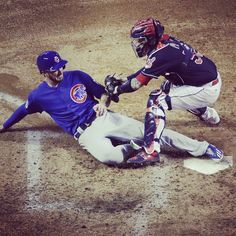 Chicago Cubs' Kris Bryant is safe at home as Cleveland Indians catcher Roberto Perez puts on a late tag during the fourth inning of Game 7 of the Major League Baseball World Series Wednesday, Nov. in Cleveland. World Series 2016, First World Series, Cubs World Series, Cleveland Indians Baseball, Chicago Cubs Baseball, Baseball Boys, Softball, Baseball Stuff, Cubs Players