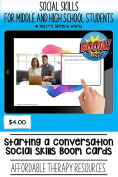 $4.00 · If you're looking for Boom cards for speech therapy to work on social skills for teens, these cards are just what you are looking for. This is a NO prep speech therapy activity: Buy now and you are ready to go! Find this and many more speech therapy resources for teens at Misty's Speech World! Buy now: to purchase this deck of boom cards, click on this pin and purchase to add this therapy resource to your speech therapy toolkit! Student Life, High School Students, Problem Solving Activities, Reading Task Cards, Learning Cards, How To Start Conversations, Speech Therapy Activities, Conversation Starters, Social Skills