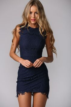 Sleeveless navy dress. Crotchet detailing.  High neckline. Invisible back zip. Bodycon fit. Inner lining. Cotton/polyester. Please choose sizes carefully because this dress runs small in size. - prom dresses under 100, white party dresses, pink tight dress *sponsored https://www.pinterest.com/dresses_dress/ https://www.pinterest.com/explore/dresses/ https://www.pinterest.com/dresses_dress/sexy-dresses/ http://www.bebe.com/Dresses/197.sec