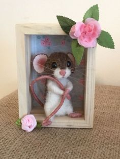 """Introducing """"Milly."""". She is a life size brown and white cute little mouse needle felted by myself with an exceptional amount of love and care. Suzanne x. 