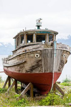 Picture of Old Wooden Boat on Alaskan Dry Dock stock photo, images and stock photography. Wooden Boat Building, Boat Building Plans, Boat Plans, Old Boats, Small Boats, Boat Wallpaper, Yatch Boat, Center Console Fishing Boats, Boat Illustration