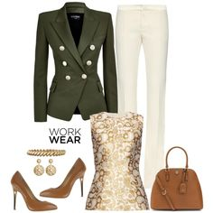 work wear by gallant81 on Polyvore featuring polyvore, fashion, style, STELLA McCARTNEY, Balmain, Gucci, Vicini, Tory Burch, Anne Klein and Brooks Brothers
