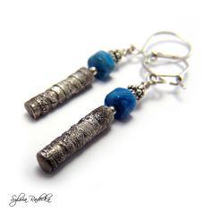 Metalwork Earrings Sterling Silver Agate Silver by RadeckaArt