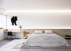 EDIFICIO TRES - Arquitectos Valencia Hotel Bedroom Design, Modern Bedroom Design, Home Room Design, Home Bedroom, Interior Design Living Room, Bedroom Decor, Interior Modern, Platform Bed Designs, Minimalist Room