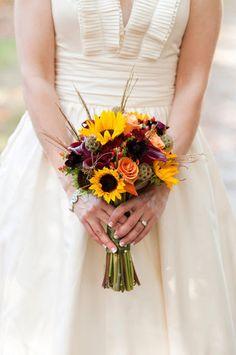 wedding bouquet of yellow sunflowers