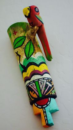 Kyaaro meaning Parrot isn't a katsina but this peice represents a wand held by dancers in some ceremonies. By Joseph (JoeJoe) Stacey