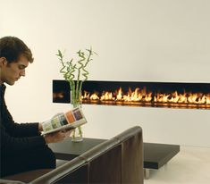 Www.sparkfires.com  Ventless fireplaces Linear Fireplace, Home Fireplace, Modern Fireplace, Fireplace Design, Outdoor Fireplaces, Fireplace Ideas, Home Bar Rooms, Painted Front Doors, Workspace Design