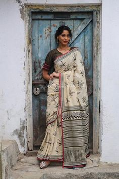 b062288d565 Kora Leaf Hand Block Printed Mul Cotton Saree