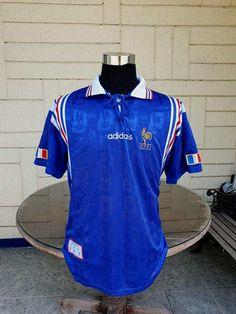 FRANCE 1996 EURO SEMI-FINALS JERSEY ADIDAS AWAY VINTAGE RARE SHIRT MAILLOT XL France Euro, Vintage Jerseys, Adidas, Football Jerseys, Jersey Shirt, Finals, Soccer, Classic, Shirts
