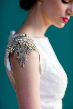 Want thiiiiiss. wedding dress, cap sleeve, nice romantic detail, Carol Hannah #crystals #weddingdress
