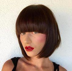chin-length bob with blunt bangs