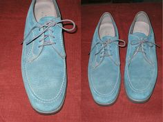 Vintage 80s blue suede oxford shoes by Hush Puppies by antique