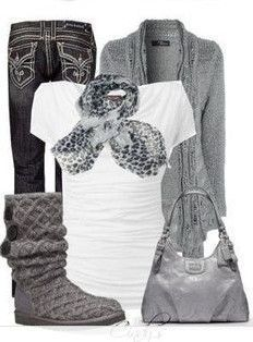 cute uggs outfit with grey boots love it ♥