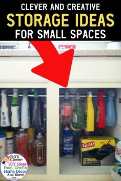 Creative Storage Solutions for Small Spaces (Awesome DIY Ideas! No Closet Solutions, Small Space Solutions, Storage Solutions, Creative Storage, Diy Storage, Storage Ideas, Storage Hacks, Creative Crafts, Creative Ideas