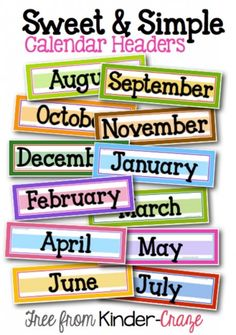 Teach Junkie: 13 Printable Calendar Numbers {Free Download Sets} - Month Headers