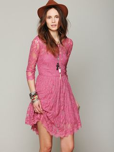 Free People Floral Mesh Lace Dress, $128.00 Pink lace. Boom. Plus I love the detail on the bottom