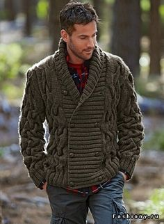 Мужской свитер с узорами-косами / как связать мужской свитер с косами
