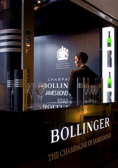 """For the much awaited première of the next James Bond film """"Skyfall"""", Her Majesty's secret agent, who celebrates 50 years on screen, steals the limelight in the renowned London store. Bollinger Champagne, Champagne Region, Skyfall, Prosecco, James Bond, Harrods, Wine Recipes, Wines, Event Ideas"""