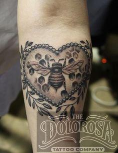 Honey bee for honey with heart or anchor Honey Bee by the Dolorosa Tattoo Company