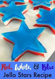 Looking for a fun red white and blue jello recipe. This is it. These jello stars will be the hit of any patriotic party including Fourth of July. Yummy dessert idea.