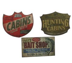 Lake Hunting Fishing Cabin Bait Shop Wall Door Decor Signs (Set of 3)