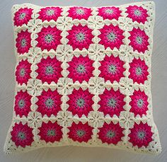 pink flower granny square cushion cover (riavandermeulen) Tags: pink look square circles crochet retro pillow cover granny cushion vintagelook madebyria