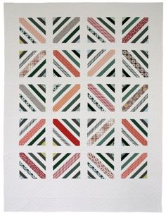 Between the Lines Quilt Pattern(twin) by Denyse Schmidt. Love how your brain works to complete the figures. Would be interesting to see in different colourways, and with the reddish diagonals in a stronger contrast.