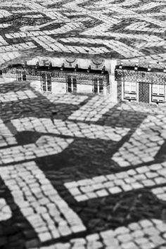 Lisbon reflections in the pavement. Lisbon City, Visit Portugal, Just Beauty, Tile Art, Pavement, Day Tours, Day Trip, Island, Black And White