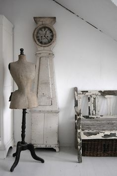 Vintage stone colour and antique white, vintage tailors dummy clock and seat Repinned by www.silver-and-grey.com