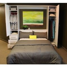 Penthouse Murphy Bed W/Hutches - exactly what I am envisioning with an area to hang clothes.