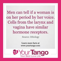 """9 Things You Didn't Know About Your Period: Researchers Nathan Pipitone at Adams State College and Gordon Gallup from SUNY-Albany, found that the men were correct a significant amount of the time. """"Vocal production is closely tied to our biology,"""" Pipitone said. """"Cells from the larynx and vagina are very similar and show similar hormone receptors."""""""