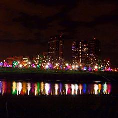 The Grand Illumination at Bicentennial Park reflected in the Scioto River.  Columbus, Ohio