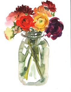 Ranunculus in a Jar by Gretchen Kelly, painting by artist Gretchen Kelly