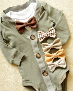 ADORABLE green and grey cardigan bodysuit with your choice of bowtie too cute to pass.perfect for your little gentleman - - ADORABLE green and grey cardigan bodysuit with your choice of bowtie too cute to pass.perfect for your little gentleman Baby Things Baby Outfits, Kids Outfits, Baby Dresses, Cardigan Vert, Grey Cardigan, Baby Boy Fashion, Kids Fashion, New Born Boy, Little Gentleman