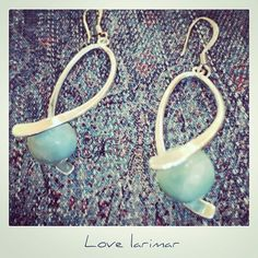 """""""Beautiful #larimar #earrings I #handmade from #dominicanrepublic larimar I brought home from the #puntacana #beach #ocean ⭐️⭐️If you would like me to…"""""""