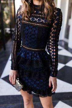 Just a pretty style | Latest fashion trends: Women's fashion | Navy patterned long sleeved dress