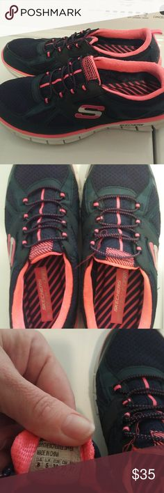fc08a70a Women's Sketchers memory foam Not worn much slip on navy and hot pink with  memory foam size 8 Skechers Shoes Athletic Shoes