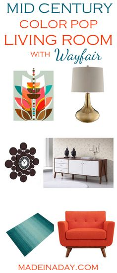 Mid Century Color Pop Living Room Blogger Pick's, See my favorite room picks for to create a super cool Mid Century Living Room. Orange teal living room, gold lamp, mid century sideboard, wood grain