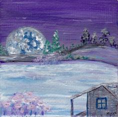 Grandmother's New View  Original miniature painting on canvas by Majo, $25.00