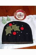 Felted wool Christmas Holly Tea Cozy. Find the pattern at www.quiltpatterndesign.com or on our babs 'n' jas Craftsy page.