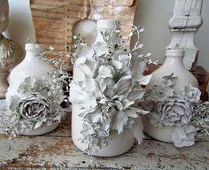 White farmhouse bottle vase trio set ceramic tall bottles embellished French Nordic painted handmade plaster flowers anita spero design