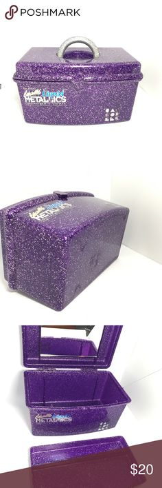"Caboodles Purple Liquid Metallics Makeup Case 1990's Vintage Caboodles Purple Glitter Liquid Metallics travel makeup or art supplies case.  Comes with original mirror inside and tray! Made in the U.S.A. Model No.: 5620 Measurements: 9 1/2"" x 5 1/2"" x 5 1/2""  Tray: 8 3/4"" x 5"" x 3/4""  Condition: Good condition. Inside of case is in like new condition. Scratches and scuffs on bottom.  Decals are slightly worn. Age spot in mirror.  Please let me know if you have any questions before purchasing…"