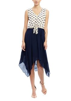 MLLE GABRIELLE Sleeveless Polka Dot Blouson Dress | ideel