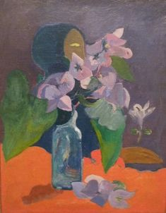 Paul Gauguin - Still-life with Flowers and Idol (1892)
