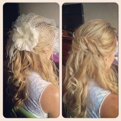 Wedding bridal half up updo with Russian veil and over-sized silk flower Wedding Hair - Makeup and hair by Alina G Karaman